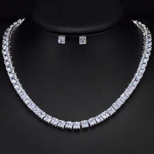 Square Diamond Cubic Cut Bridal Jewelry Set