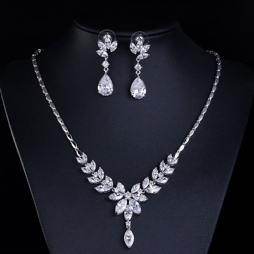 Daisy Flower Tear Drop Crystal Bridal Jewelry Set
