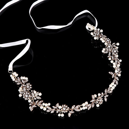Rhinestone Floral Pearled Embellished Headband w. Ribbon