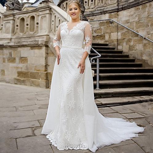 "3/4"" Long Sleeve 2PC Mermaid Plus Size Wedding Gown"