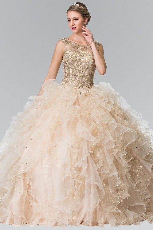 Illusion Lace Top Organza Ruffle Quinceanera Gown