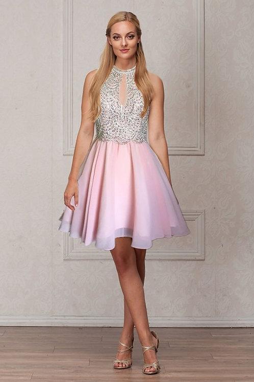 Sequins Pattern Beaded Chiffon Short Prom Dress