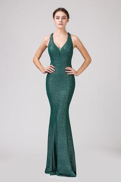 Halter V-Neck Long Solid Mermaid Prom Dress