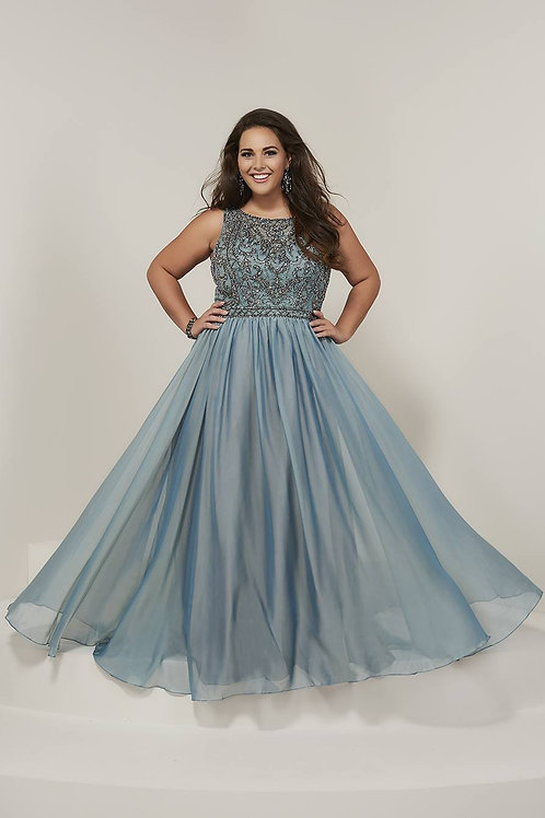 16379 Tiffany - Sleeveless Sparkling Illusion Top Chiffon Prom Dress