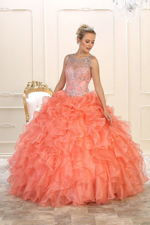 Illusion Crystal Embellished Organza Ruffle Quinceanera Gown