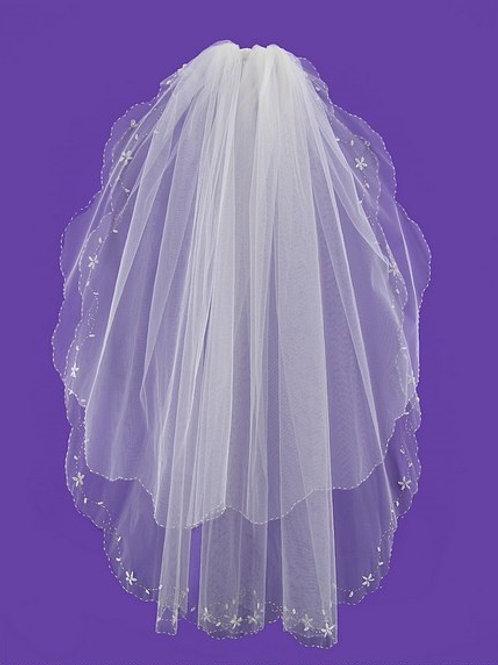 Veil V0021 Floral Sequins Pearls
