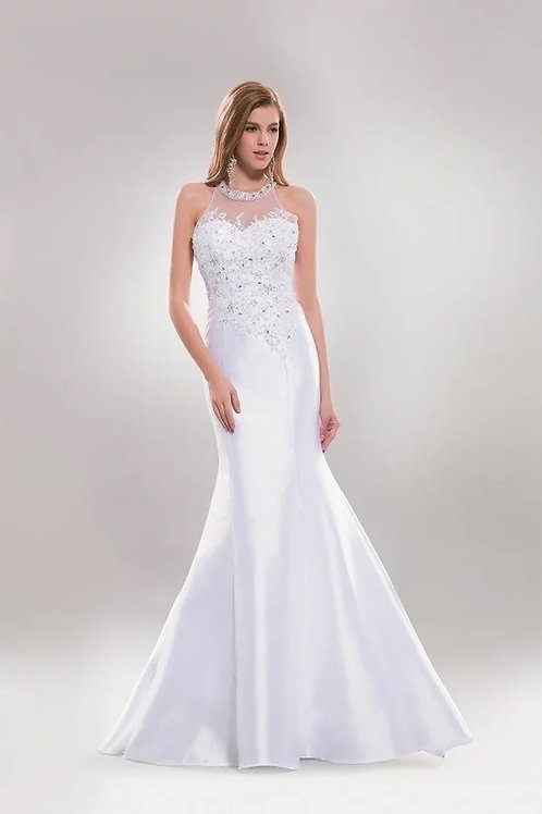 Sleeveless Illusion Halter-top Beaded Mermaid Gown