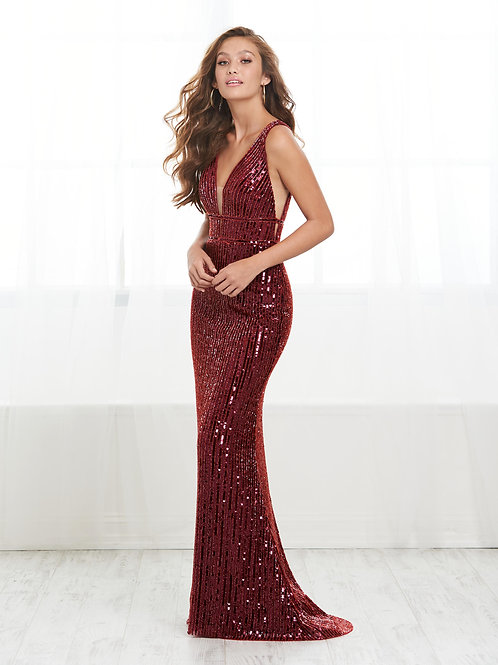 16441 Tiffany Design - Sequins Beaded Side-Cut Trumpet Mermaid Dress