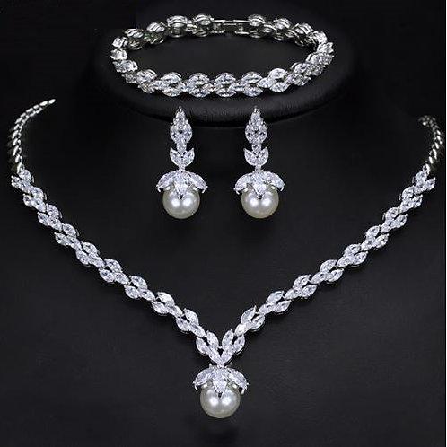 3 Piece Cubic Diamond & Pearl Bridal Jewelry Set