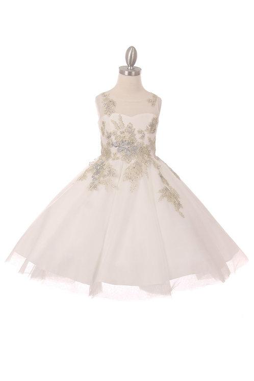 Illusion Embroidery w. Rhinestone Flower Girls Dress by Cinderella