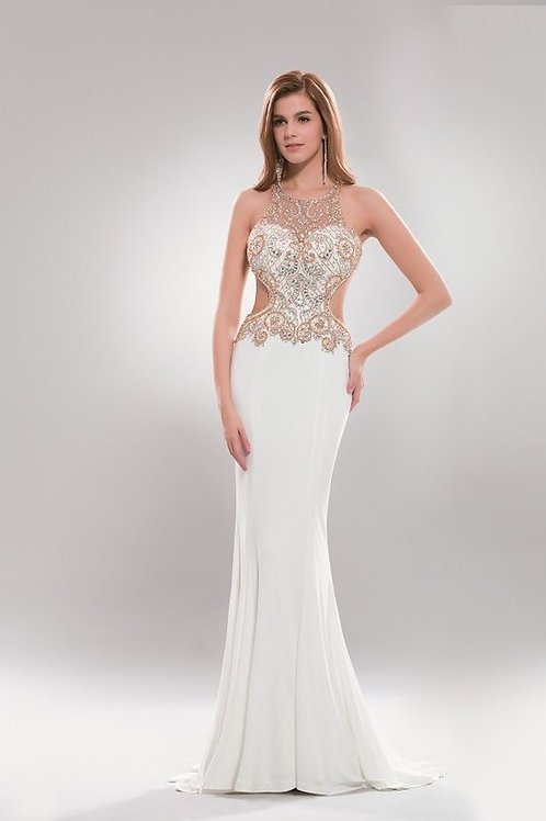 Illusion Crystal Beaded Cut-Out Back Mermaid Evening Gown