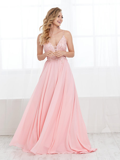 16426 Tiffany Design - Spaghetti Strap Plunging Neckline Chiffon Prom Dress