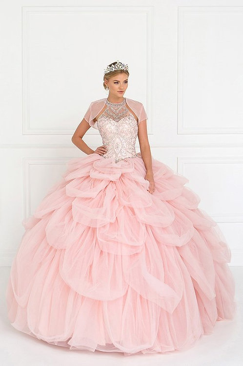 Tulle Halter Beads and Jewels Quinceanera Ball Gown with