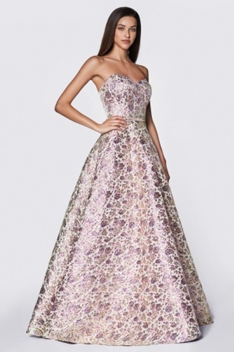 Printed Shimmering Sweetheart A-Line Prom Dress