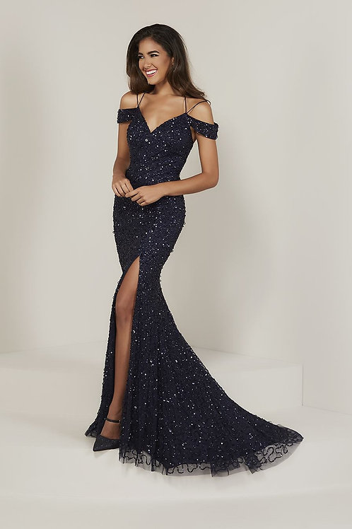 16335 Tiffany - All Over Sequins Beaded Mesh Trumpet Maid of Honor Dress