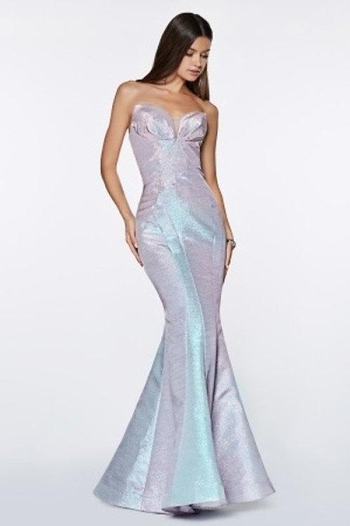 Metallic Iridescent Gathering Mermaid Fitted Prom Dress