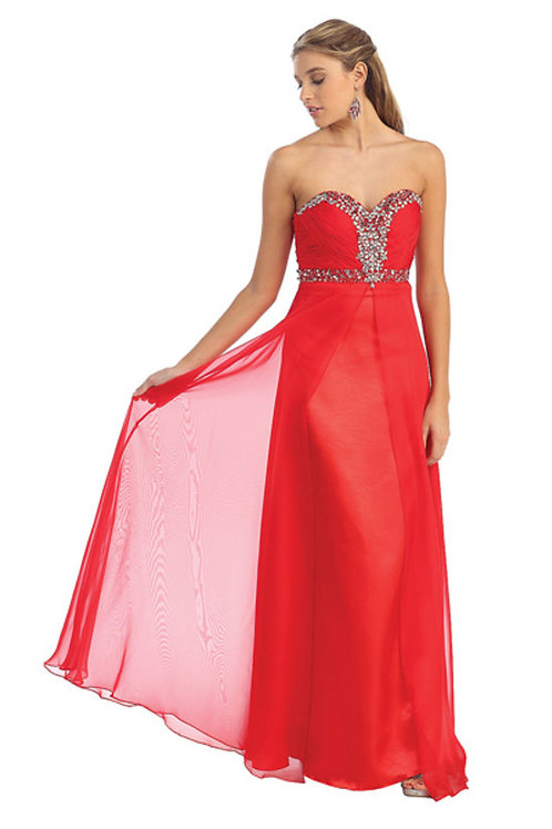 Crystal Beaded Sweetheart Long Chiffon Prom Dress
