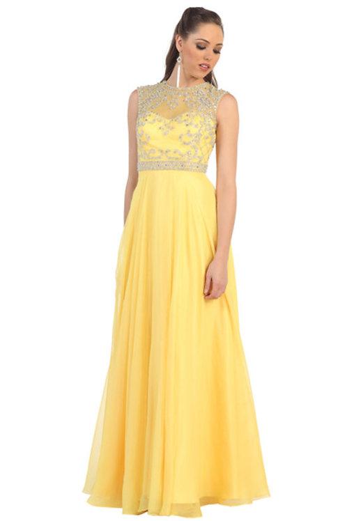 Sleeveless Illusion Crystal Top w. Crystal Waistband Chiffon Prom Dress