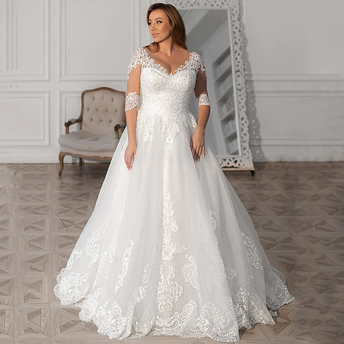 Embroidery Lace Sweetheart Underlay A-Line Ball Plus Size Gown