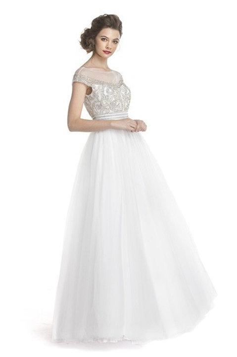 Illusion Top w. Rhinestone Beaded Bodice Ball Gown Prom Dress