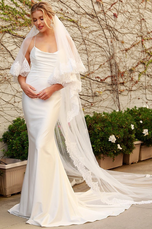 Spaghetti Strap Drape Neckline Mermaid Wedding Gown