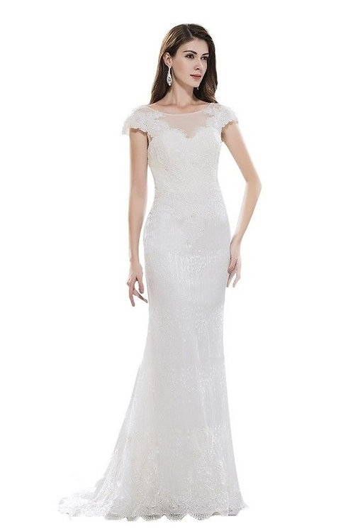 Cap Sleeved Illusion Top Shimmer Mermaid Wedding Gown