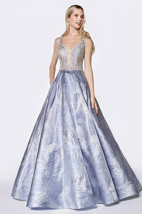 Sequin Pattern Brocade Floral Print Ball Prom Dress