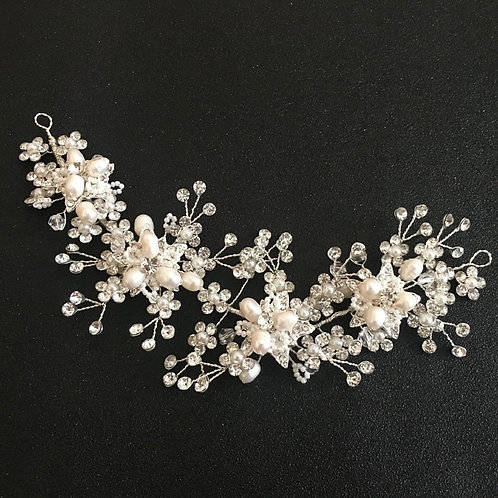 Wired Crystal Rhinestones Freshwater Pearls Headband