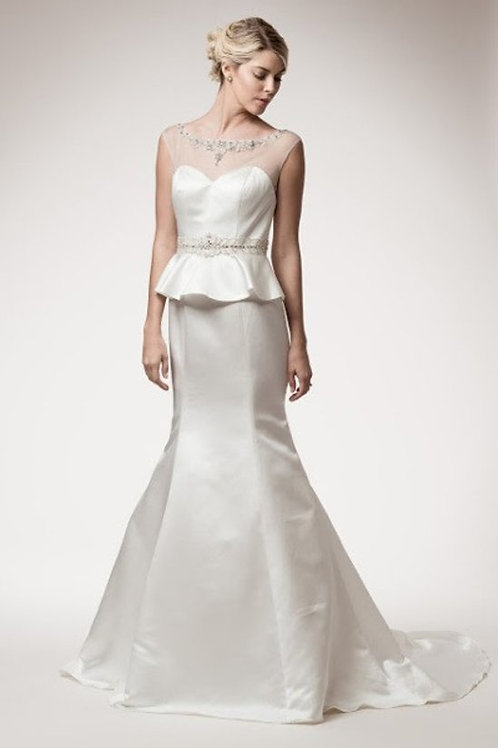 Jewel Neckline Illusion Sweetheart Mermaid Wedding Gown