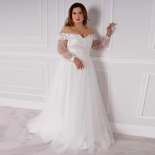 Off the Shoulder Sheer Long Sleeve Sweetheart Neckline Plus Size Ball Gown
