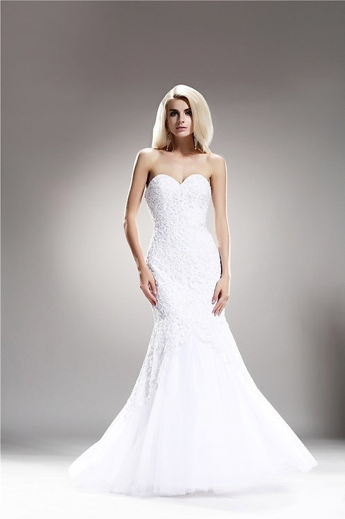Strapless, Sweetheart Lace Embellished Mermaid Gown