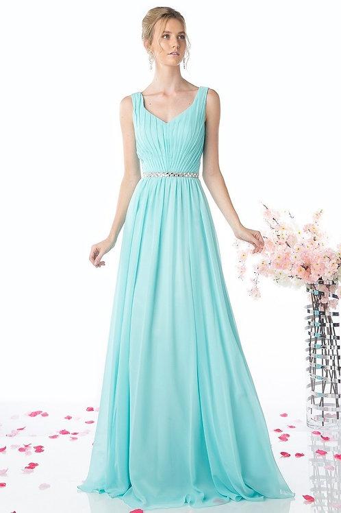 V-Neck Soft Pleated Long Chiffon Bridesmaid Dress w. No Sleeves