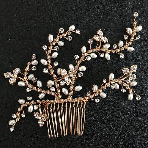 5 Rhinestone String Designed Hair Comb -2pc