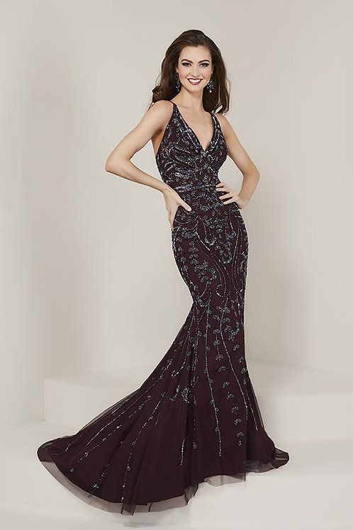 16349 Tiffany - Sleeveless V-Neck All Over Lace Mermaid Prom Dress