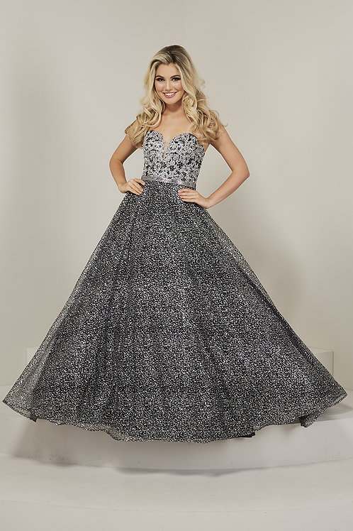 16355 Tiffany - Strapless Sweetheart Neckline Shimmering Print Ball Gown