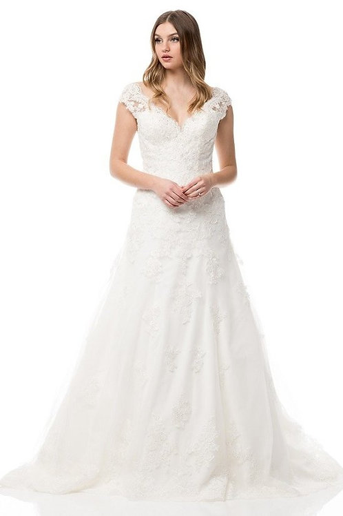Gorgeous Illusion Lace Sweetheart A-Line Wedding Ball Gown