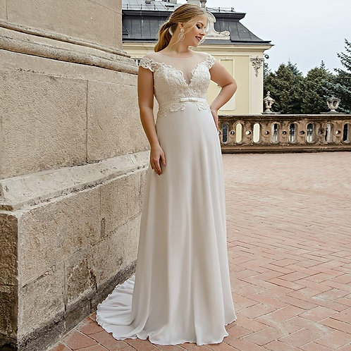 Lace Shoulder Strap Illusion Top Sweetheart Plus Size Wedding Gown