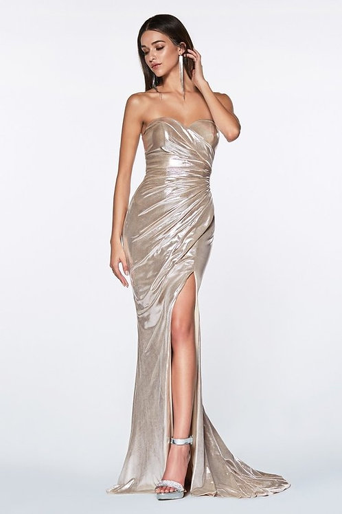 Sexy Ruched Pleaded Metallic Fitted Prom Dress