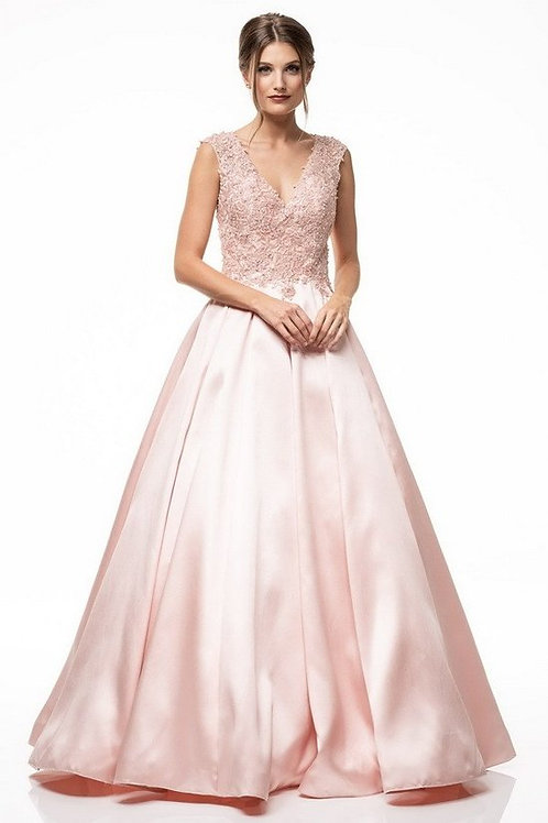 A-Line Lace Embellished V Long Satin Mother of the Bride Dress with No Sleeves