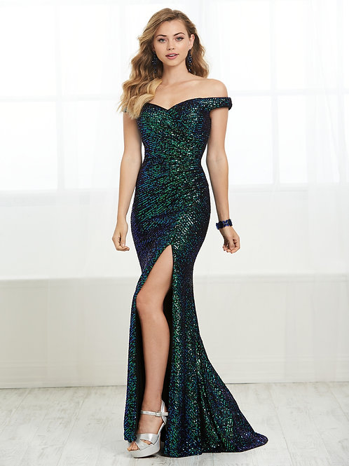 16436 Tiffany Design - Off the Shoulder Multi Sequins Mermaid Prom Dress