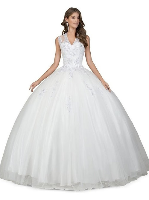 V-Neck Illusion Embellished Lace Beaded Ball Wedding Gown