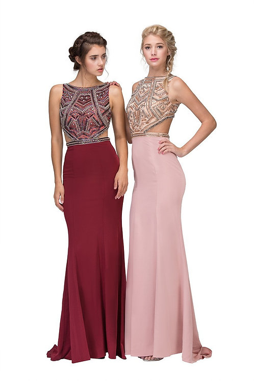 Illusion Crystal Beaded Cut-Out Jersey Mermaid Prom Dress