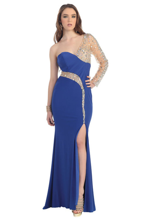 Illusion Crystal Embellished Fitted Mermaid Jersey Prom Dress