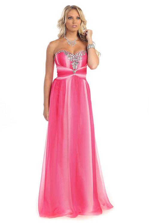 Double Tone Rhinestone Sweetheart Long Chiffon Prom Dress