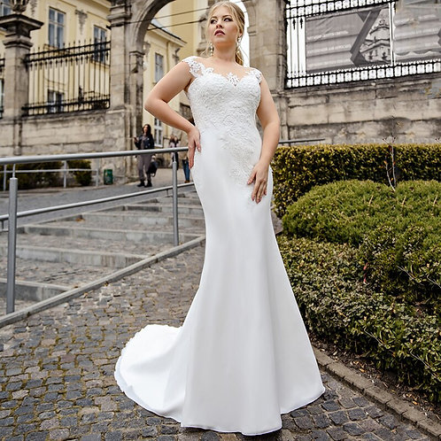 Sleeveless Sweetheart Lace Accented Mermaid Satin Plus Size Wedding Gown