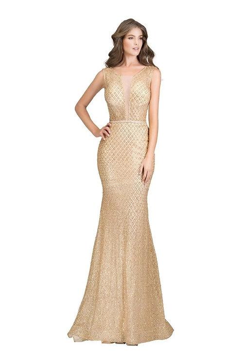 Sparkle Shimmer Embellished Long Prom Dress