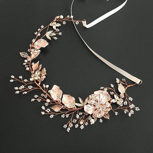 Porcelain Flower and Rhinestone Vine Bridal Headband
