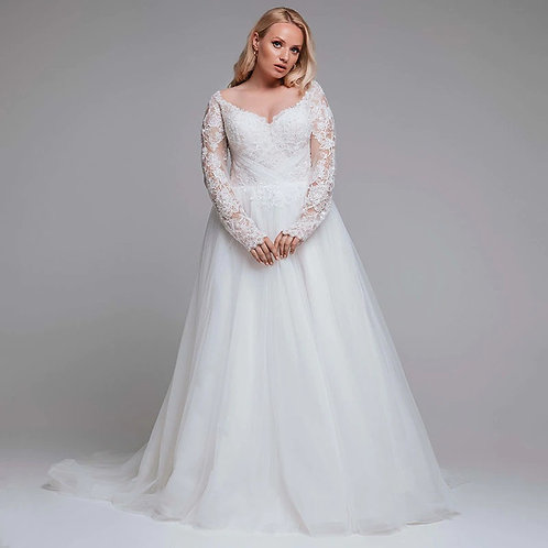 Sweetheart 3D Floral Lace Plus Size Long Sleeve Ball Gown