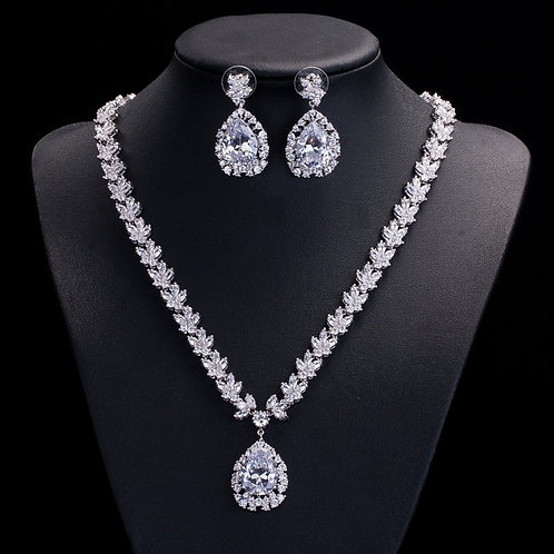 Diamond Leaf Cut Cubic Crystal Bridal Jewelry Set