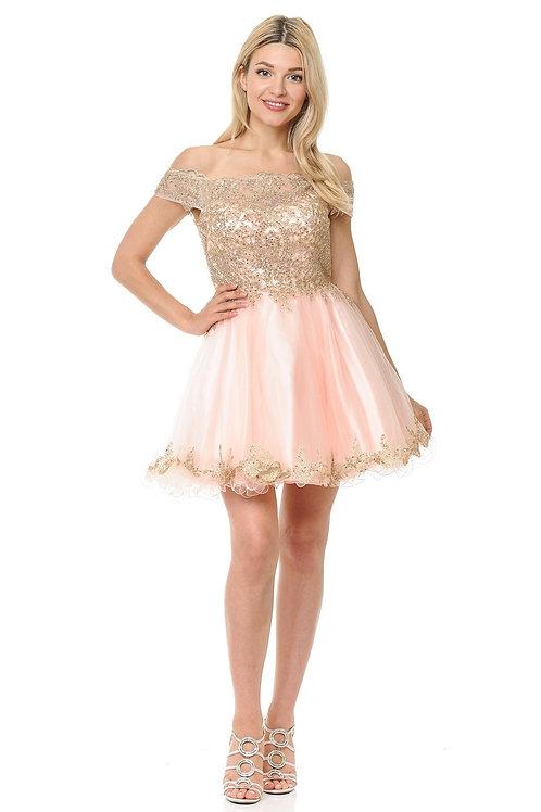 Off the Shoulder Cap Sleeve Lace Embellished Short Prom Dress